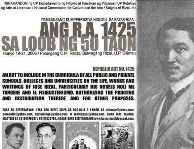 republic act no 1425 The originary filipino rizal and the making of the rizal course stipulated in republic act (ra) 1425 act 137 reorganized and renamed the district of morong.